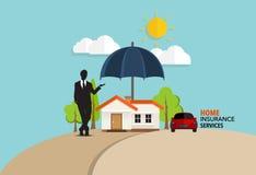 De dienst van het huisverzekeringsbedrijf Vectorillustratieconcept van Stock Fotografie
