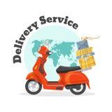 De dienst van de levering Concept snel vervoer van goederen op autoped stock illustratie