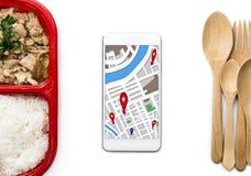 De dienst van de voedsellevering: Druk leveringsconcept voor bedrijfsfoo uit Stock Fotografie