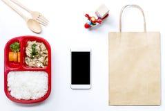 De dienst van de voedsellevering: Druk leveringsconcept voor bedrijfsfoo uit Royalty-vrije Stock Fotografie