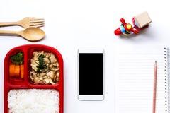 De dienst van de voedsellevering: Druk leveringsconcept voor bedrijfsfoo uit Royalty-vrije Stock Afbeeldingen
