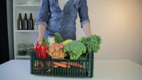 De dienst van de voedsellevering - vrouw met kruidenierswinkelsdoos op grijze achtergrond stock footage