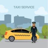 De dienstachtergrond van de taxibestuurder de de illustratieachtergrond van de stads vlakke stijl Stock Foto's
