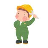 De dienstarbeider in Groene het Werkslijtage met Moersleutel Stock Afbeelding