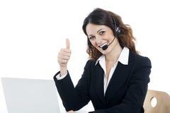 De dienstarbeider van de vrouwenklant, call centre glimlachende exploitant Stock Afbeeldingen