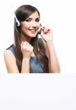 De dienstarbeider van de vrouwenklant, call centre het glimlachen exploitantwi Royalty-vrije Stock Fotografie