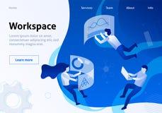 De de dienstbanner organiseerde en optimaliseerde Werkruimte stock illustratie