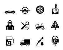 De diensten van de silhouetauto en vervoerspictogrammen Stock Fotografie