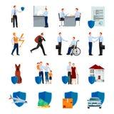De diensten van Geplaatste Verzekeringsmaatschappijpictogrammen Stock Foto's
