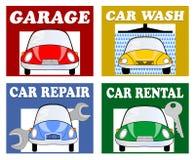 De diensten voor automobilisten en bestuurders - garage, autowasserette, autoreparatie, autohuur Stock Afbeeldingen