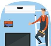 De dienstenillustratie van de airconditioningsreparatie Royalty-vrije Illustratie