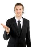 De dienstexploitant die van de klant hulp aanbiedt Stock Afbeeldingen