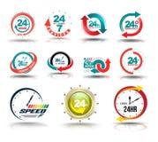 de dienstinzameling van de 24 uren open klant stock illustratie