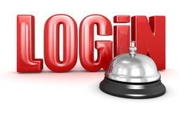 De dienstklok en Login Stock Foto