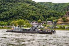 De dienstschip Carl Straat op de Rijn-Rivier Stock Foto's