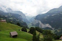 De diepe rivier george van Weisselutschine in Alpen, Zwitserland Stock Foto's