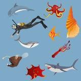 De diepe vectorreeks van het water mariene leven Stock Afbeeldingen