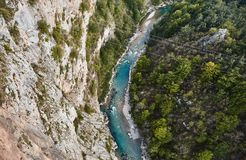De diepste canion in Europa Tara River Canyon montenegro royalty-vrije stock foto's