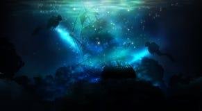 De diepte van het zeewater, de oceaanbodem, de stralen van de zon door het water stock foto