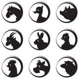 De dieren en de vogels de vectorreeks van het silhouetpictogram van het landbouwbedrijf Stock Afbeeldingen