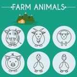 De Dieren en de Vogels Geplaatste Pictogrammen van de landbouwbedrijfbaby Royalty-vrije Stock Foto