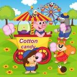 De dieren eten gesponnen suiker bij pretpark vector illustratie