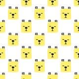 De Dieren Naadloos patroon van Kawaiivierkanten De vectorhand trekt Achtergrond met de gezichten van Honden vector illustratie