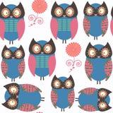 De dieren naadloos patroon van de uilen abstract aard Het wordt binnen gevestigd Stock Fotografie