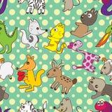 De dieren omcirkelen Naadloos Patroon royalty-vrije illustratie