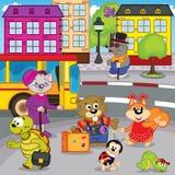 De dieren in stad komen door bus Royalty-vrije Stock Afbeelding