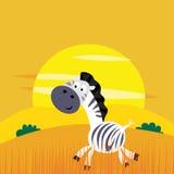 De dieren van Afrika: Leuke beeldverhaalAfrika zebra Stock Foto's