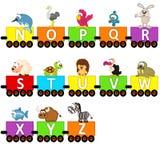 De dieren van de alfabettrein van N aan Z Stock Foto