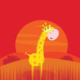 De dieren van de safari - leuke giraf en rode zonsondergangscène Royalty-vrije Stock Foto's