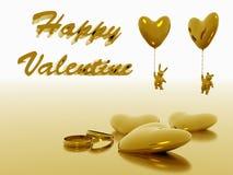 De dieren van de valentijnskaart en ballons, vakantieliefde. Royalty-vrije Stock Foto