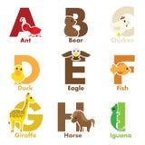 De dieren van het alfabet Stock Afbeeldingen