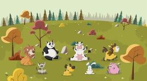 De dieren van het beeldverhaal royalty-vrije illustratie