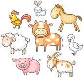 De dieren van het beeldverhaallandbouwbedrijf Stock Foto's