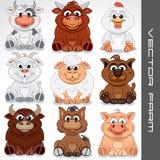 De dieren van het beeldverhaallandbouwbedrijf Vector inzameling van leuke dieren Stock Foto's