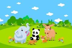 De dieren van het landbouwbedrijf met achtergrond Stock Fotografie