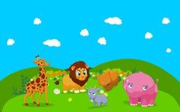 De dieren van het landbouwbedrijf met achtergrond Royalty-vrije Stock Foto's
