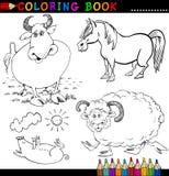 De Dieren van het landbouwbedrijf voor het Kleuren van Boek of Pagina Stock Foto