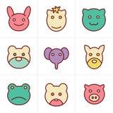 De Dierenpictogrammen van de pictogrammenstijl Stock Fotografie