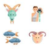 De dierenriem ondertekent vlakke reeks van van de de sterinzameling van horoscoopsymbolen van het de astrologie stijgende cijfer  Stock Foto's