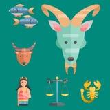 De dierenriem ondertekent vlakke reeks van van de de sterinzameling van horoscoopsymbolen van het de astrologie stijgende cijfer  Stock Fotografie