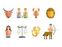 De dierenriem ondertekent vlakke reeks van van de de sterinzameling van horoscoopsymbolen van het de astrologie stijgende cijfer  Stock Afbeeldingen