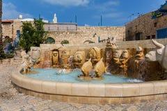 De Dierenriemfontein in Kedumim-Vierkant in oude Jaffa Tel Aviv stock fotografie