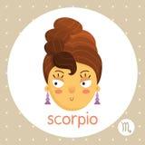 De dierenriemteken van Schorpioen, meisje met haar zoals schorpioenstaart Royalty-vrije Stock Afbeeldingen