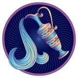 De dierenriemteken van Waterman, de blauwe vector van het horoscoopsymbool stock afbeeldingen