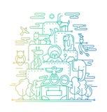 De Dierentuin - de illustratie van het lijnontwerp Royalty-vrije Stock Afbeeldingen