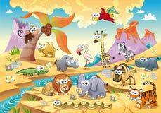 De dierlijke familie van de savanne met achtergrond. Stock Afbeelding